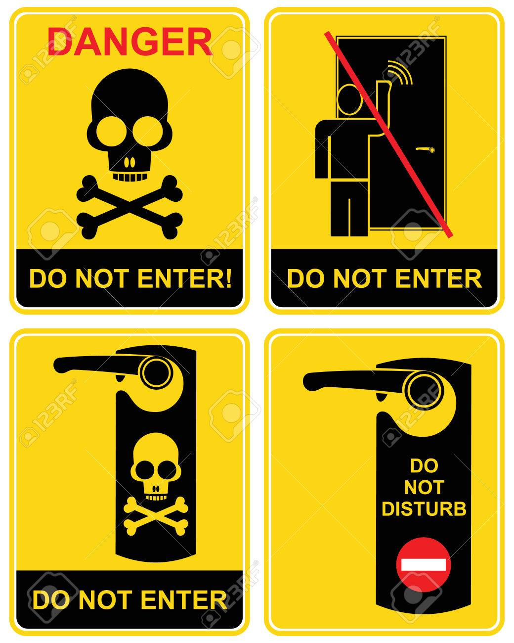 Do not enter, do not disturb, Danger - a set of prohibition signs. Black and yellow  icon - a man knocks on the door, the skull and crossbones. Caution, warning, stop. Keep away, out. Stock Vector - 6320697