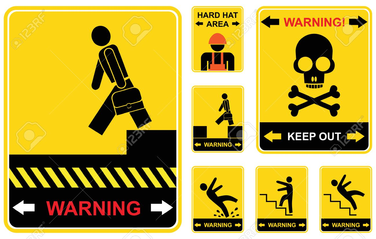 Set of yellow and black caution signs. Stock Vector - 6710759