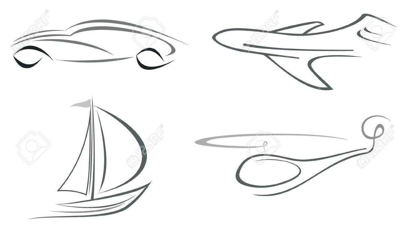 set of vector icons airliner helicopter vehicle and boat
