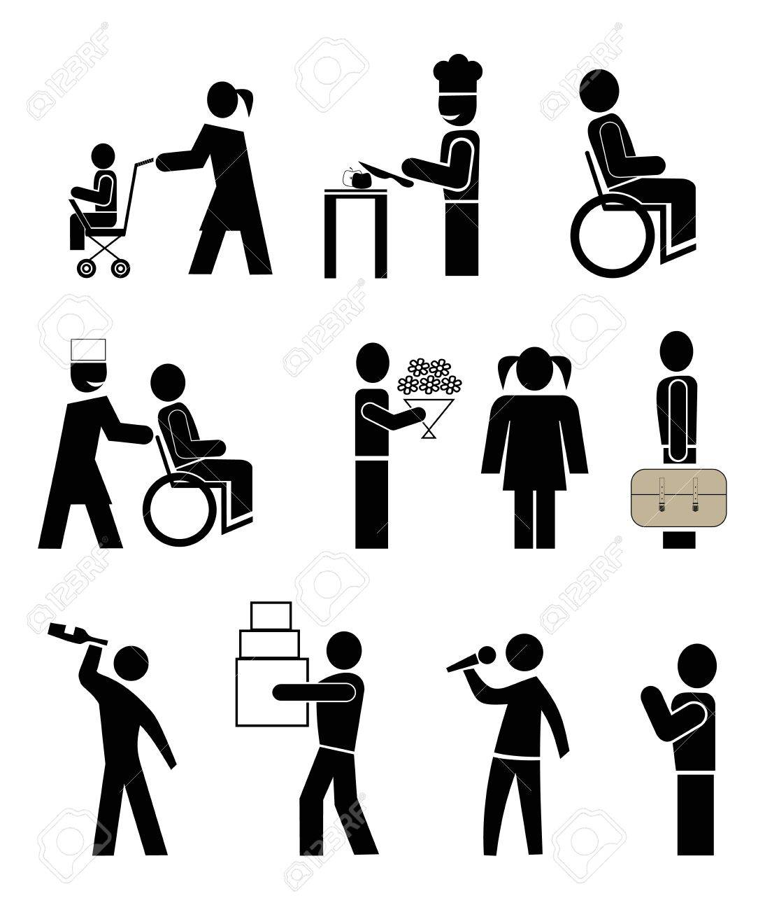 set of vector icons - people in action. black pictograms on white Stock Vector - 8502307