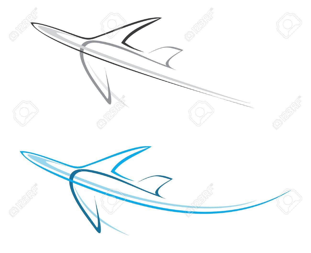 flying airplane stylized illustration grey icon on white