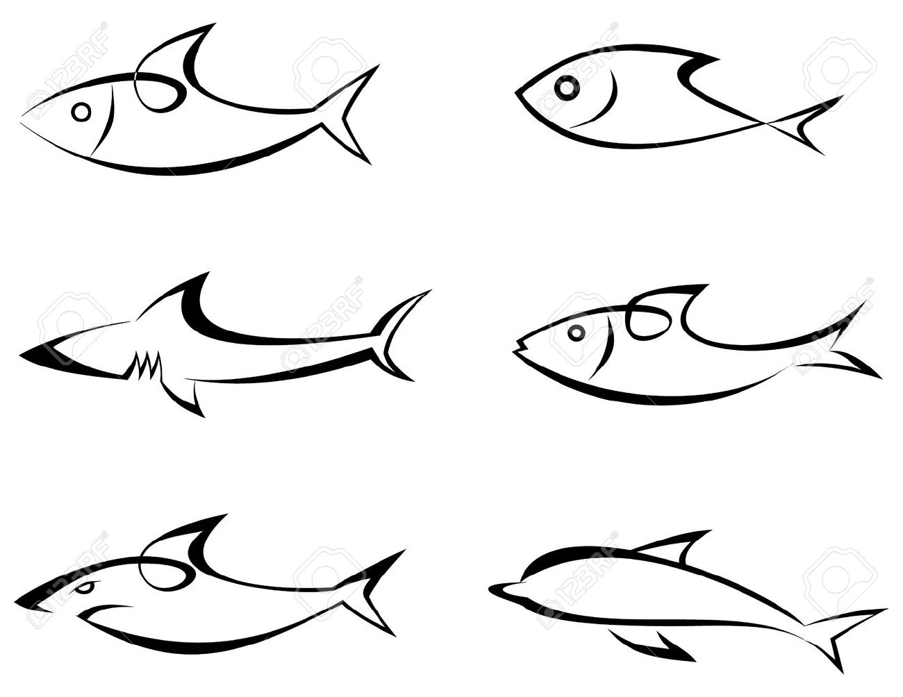 fishes set of outline vector icons stylized image isolated