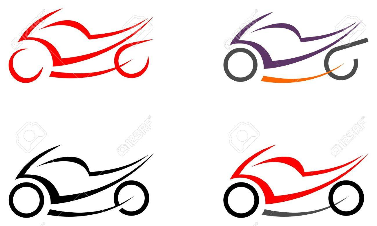 Motorcycle on white background - vector icon. Can be used as logo. Tattoo sketch. Design element. - 10163473