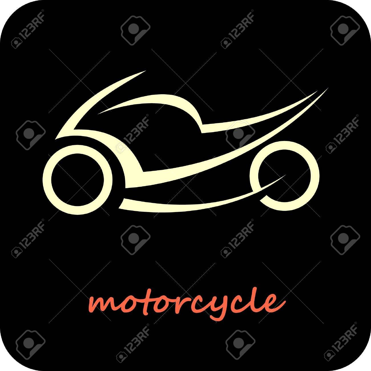 Sport Motorcycle - vector icon. Outline on black. Fast sportbike. Can be used as logotype. Stock Vector - 10677489