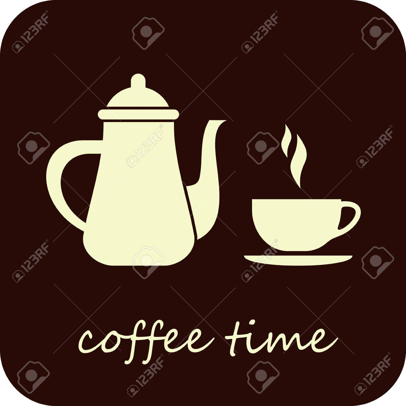 Coffee Time - isolated vector illustration. Coffee pot and cup of hot coffee on dark brown background. Stock Vector - 10827759