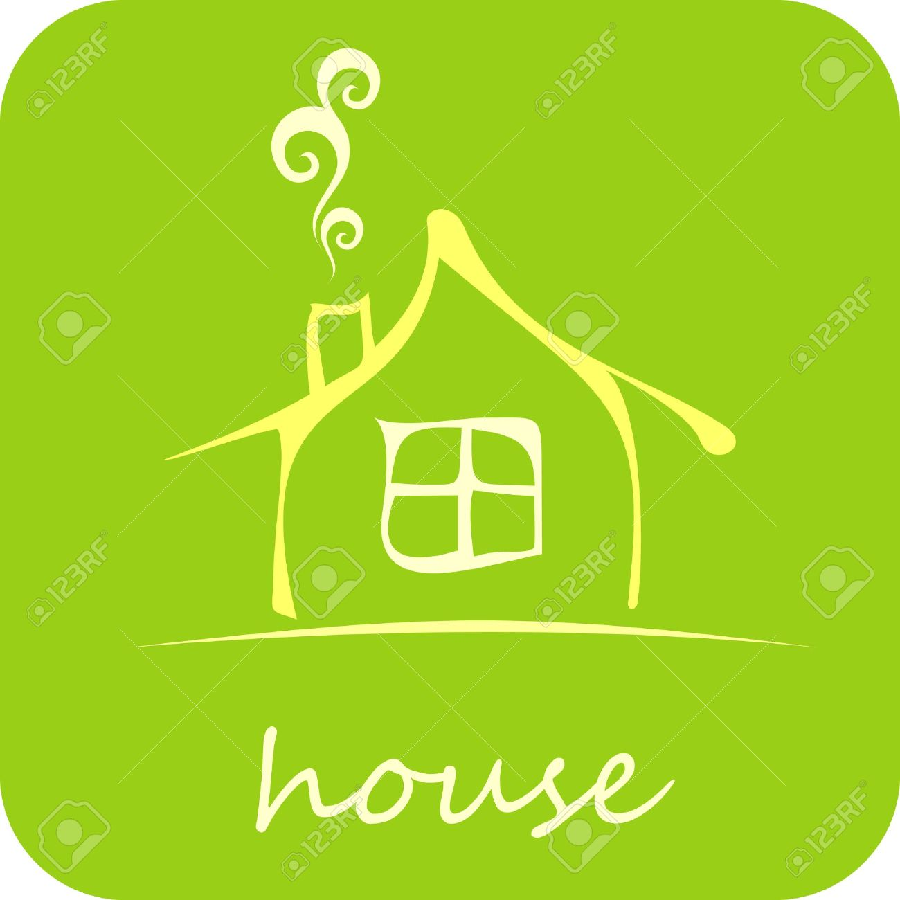 Green House - isolated vector icon on green background. Design element. Cozy home. - 10827760