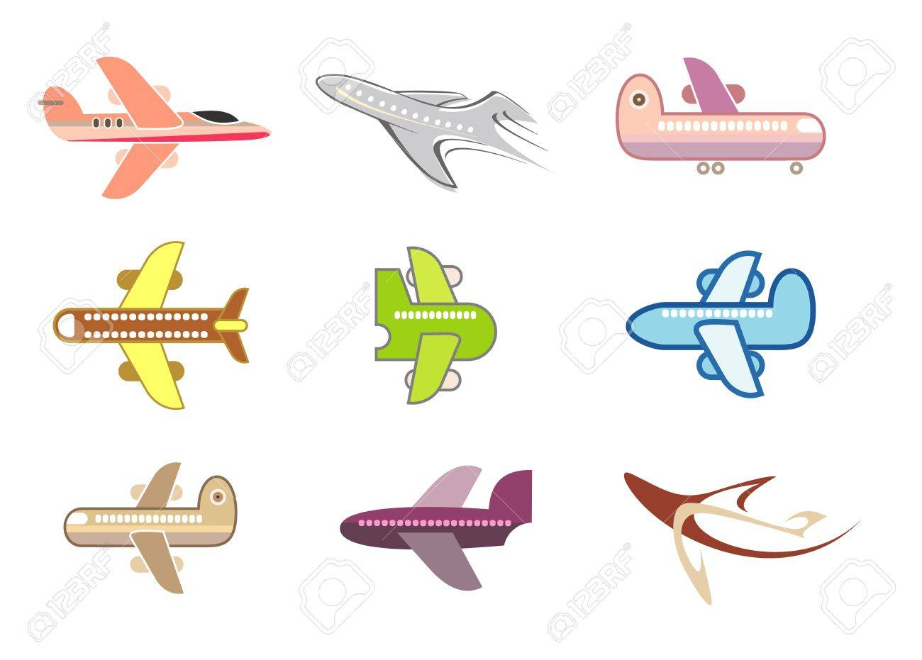 airplanes set of isolated vector icons on white background