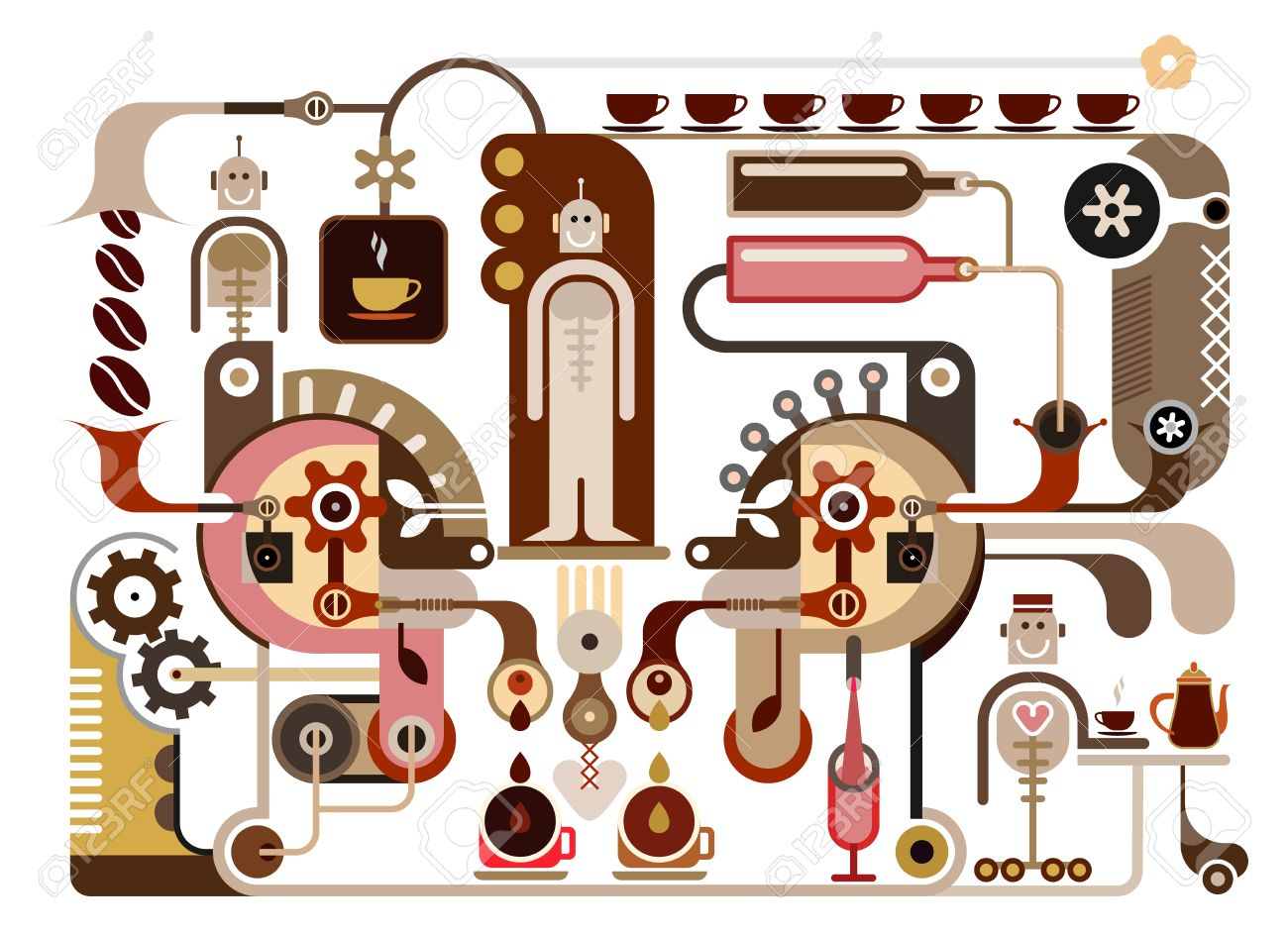 コーヒーの工場 ベクトル イラスト レストラン カフェのイラスト素材