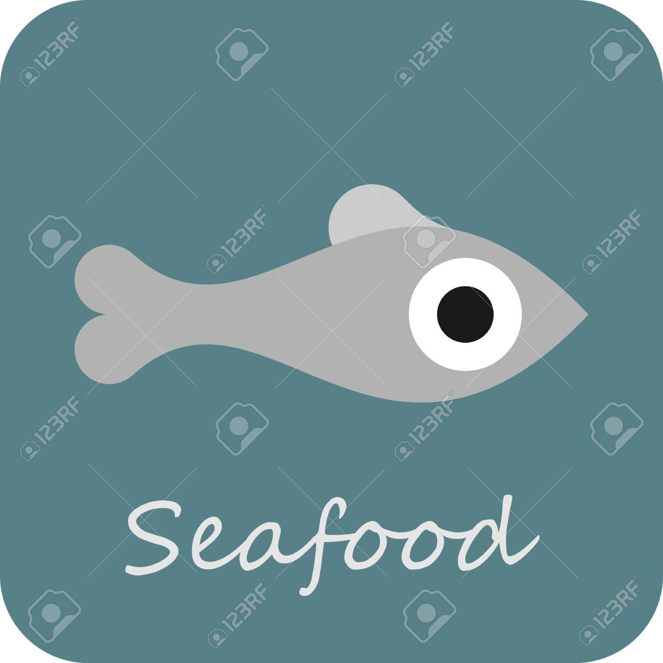 Freshwater fish clipart - Fresh Water Fish Seafood Isolated Icon Sign Symbol Of Fish On Blue