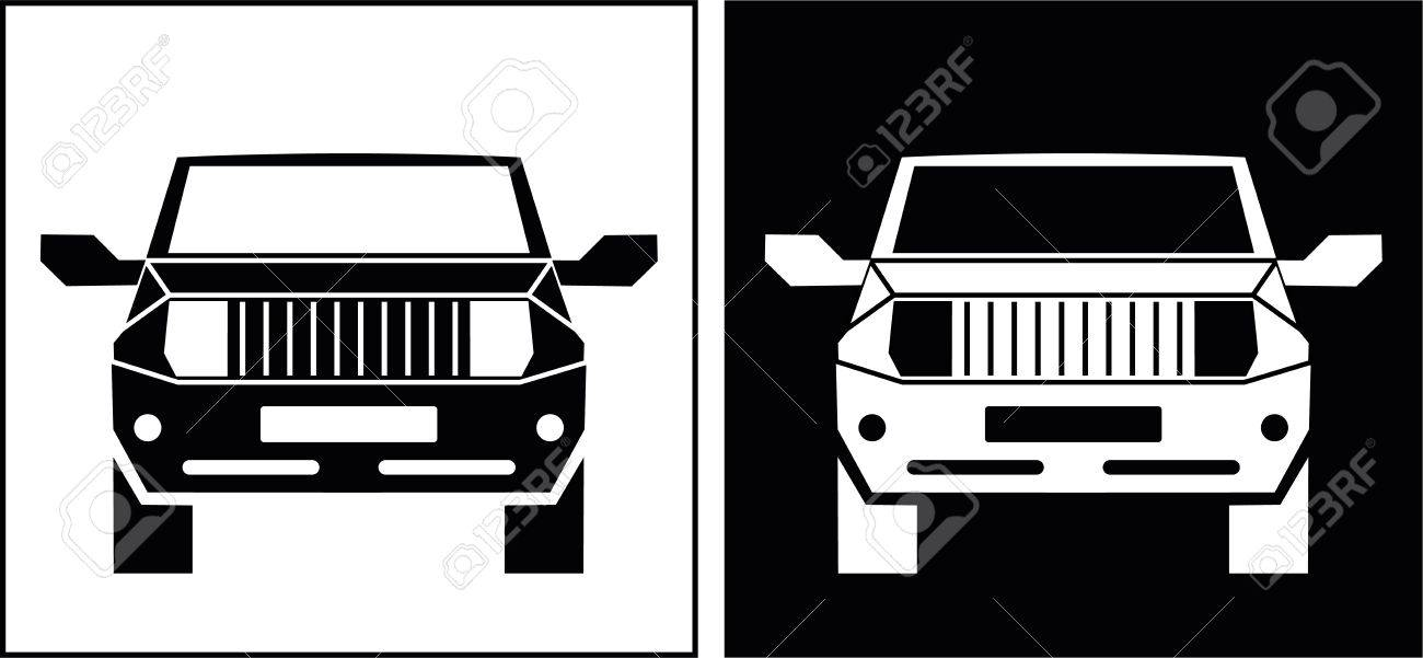 The Off Road Vehicle Isolated Vector Icon Suv Black And White
