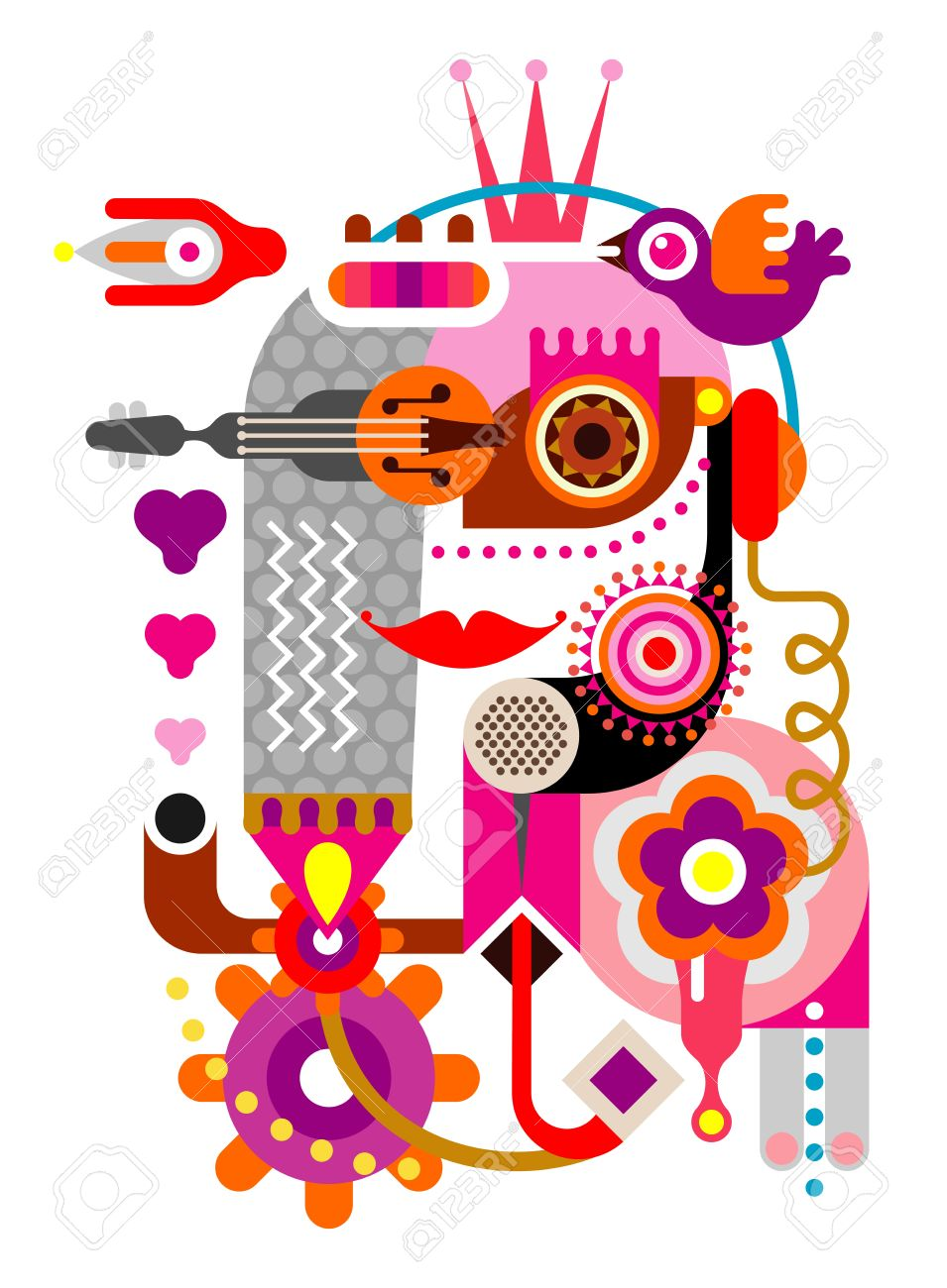 Abstract Woman Face. Artwork Illustration On White Background ...