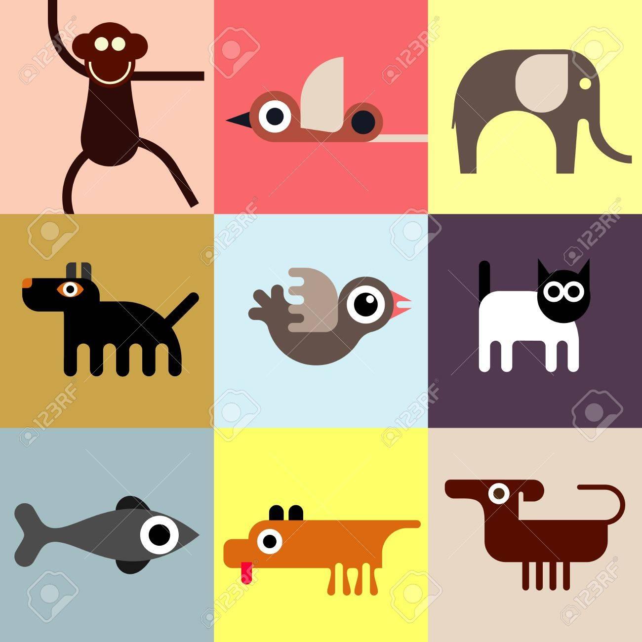 動物やペット アイコンのセット シームレスな壁紙 家畜と野生動物