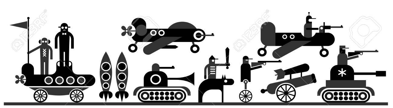 War - vector illustration. Military equipment and soldiers. Stock Vector - 14810775