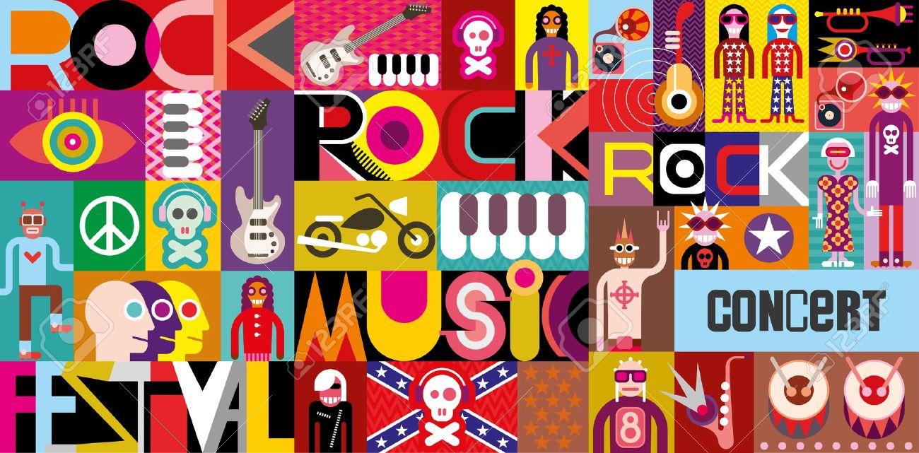 Rock Concert Poster Musical Collage
