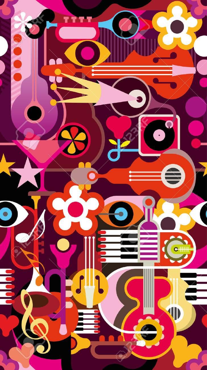 抽象的な音楽の背景 シームレスなベクトルの壁紙 楽器のコラージュ