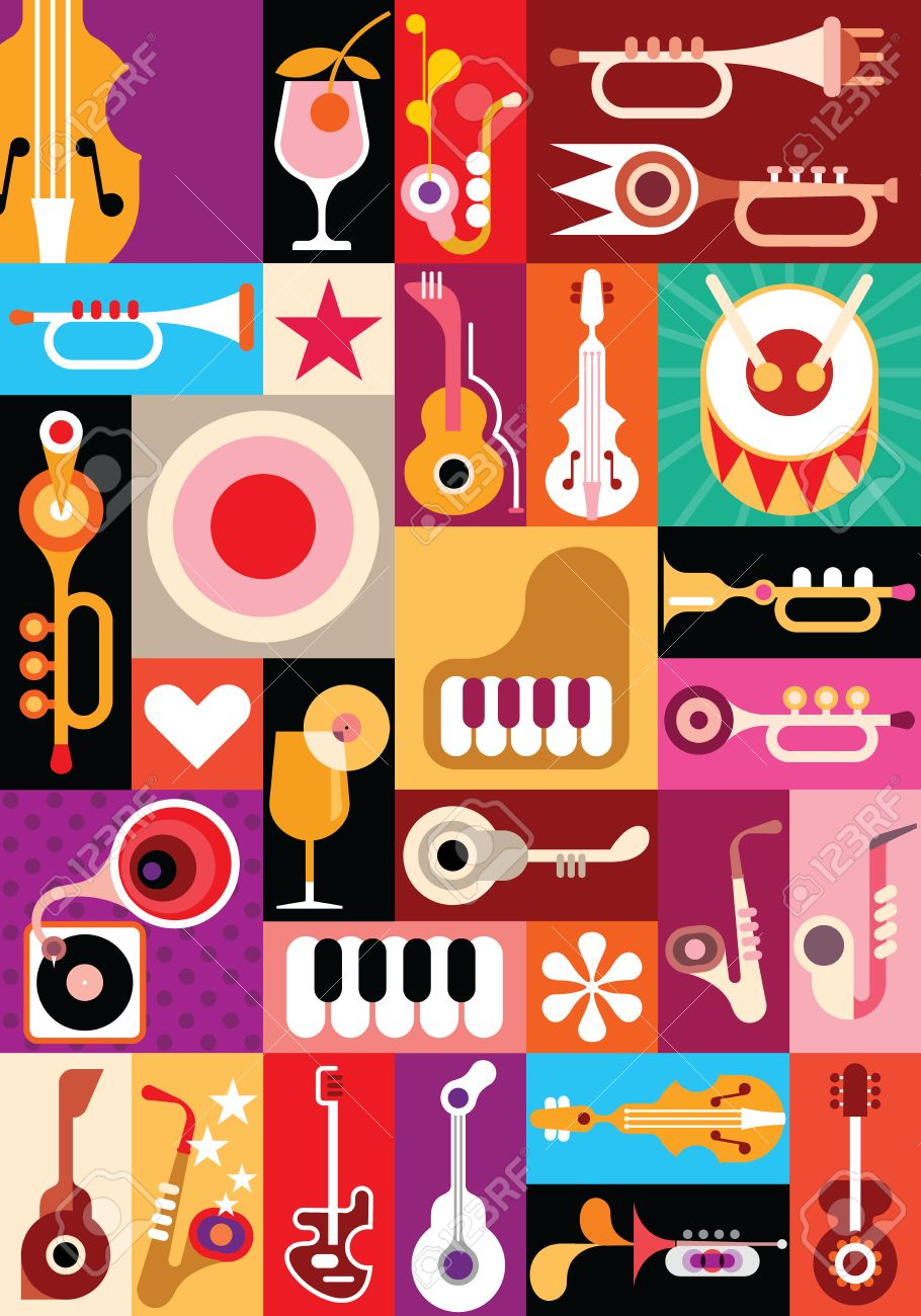 Music and Cocktail party - vector illustration. Patchwork seamless wallpaper. Stock Vector - 24540751