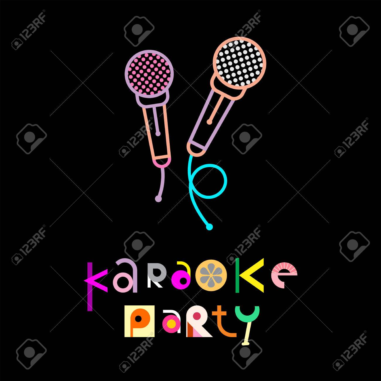 Karaoke Party - Decorative Text Architecture On A Black Background ...