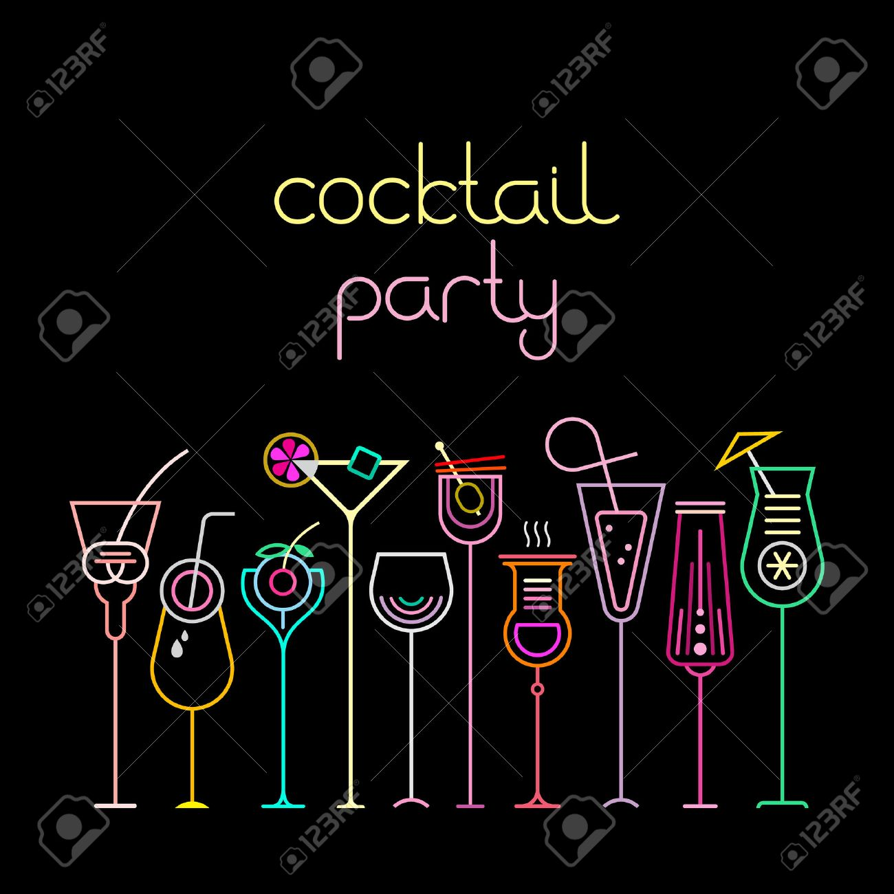Neon colors on a black background cocktail party vector illustration neon colors on a black background cocktail party vector illustration ten various cocktail glasses and stopboris Choice Image