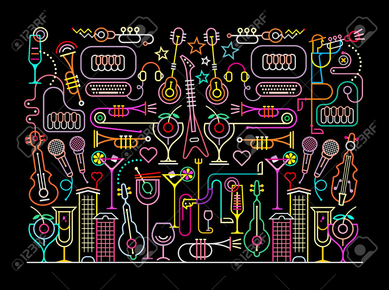 Neon colors on a black background Nightclub Cocktail Party illustration. Abstract art composition. - 53447416