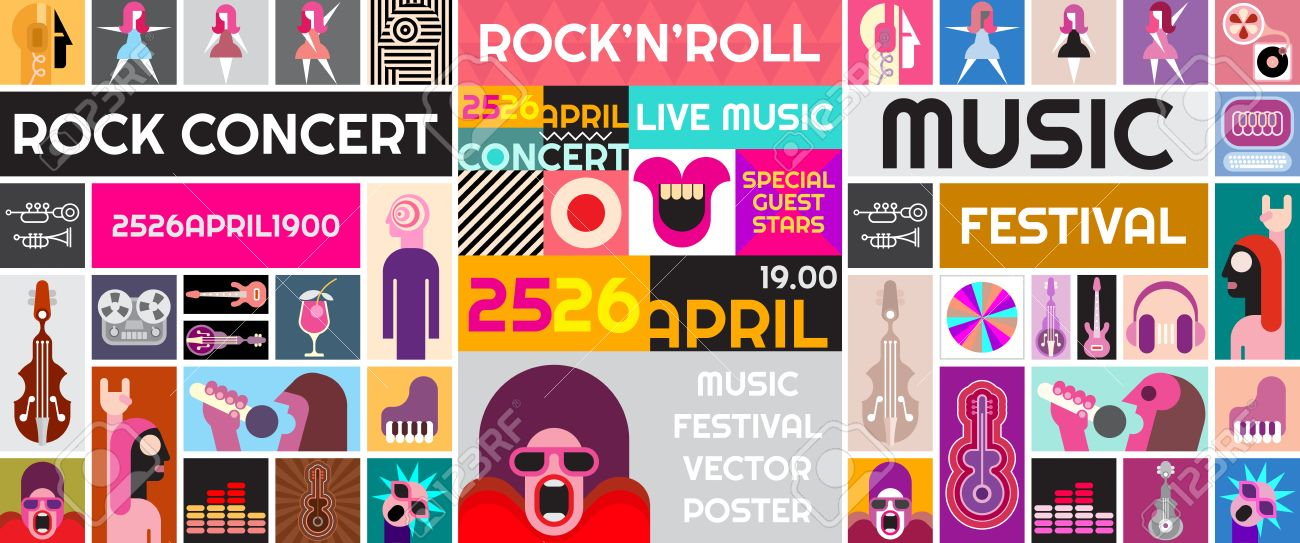 Rock Concert Poster Template Music Festival Vector Collage Stock