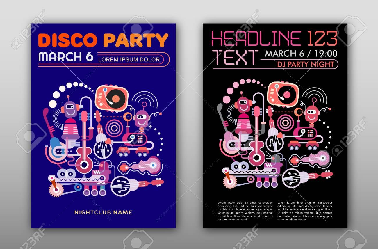 Dos Opciones De Cartel Del Partido Del Disco Maqueta, Diseño De ...