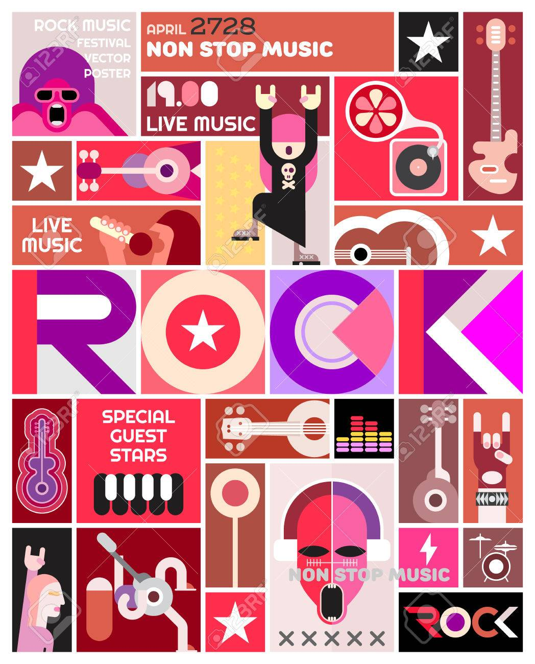 Rock Concert Poster Vector Template Design Art Collage Of Many Different Pictures And Text Composition