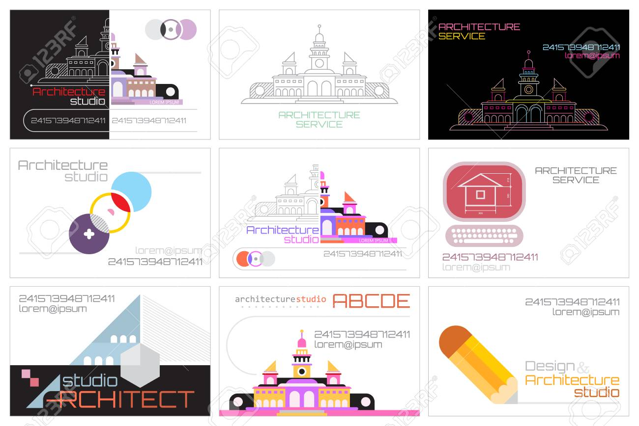 Set Of Nine Architecture Studio Business Card Template Designs ...