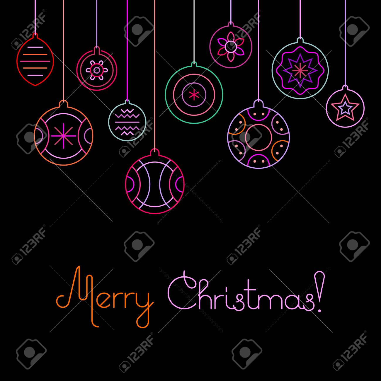 Neon colors on a black background merry christmas vector imagens neon colors on a black background merry christmas vector illustration ten various christmas decorations and merry christmas text invitation stopboris Choice Image