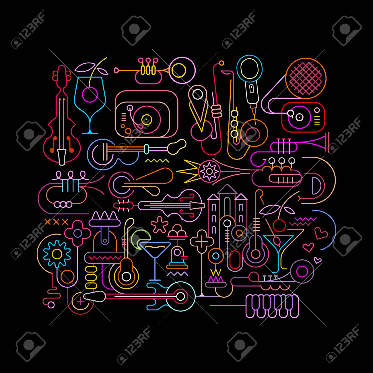 neon colors on a black background abstract music design vector rh 123rf com black background design wallpaper black background design white