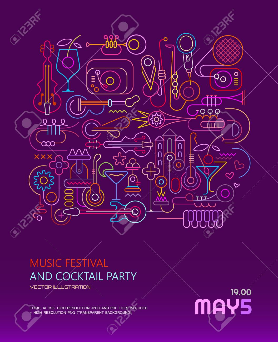 Music Festival And Cocktail Party Vector Poster Template Design Stock