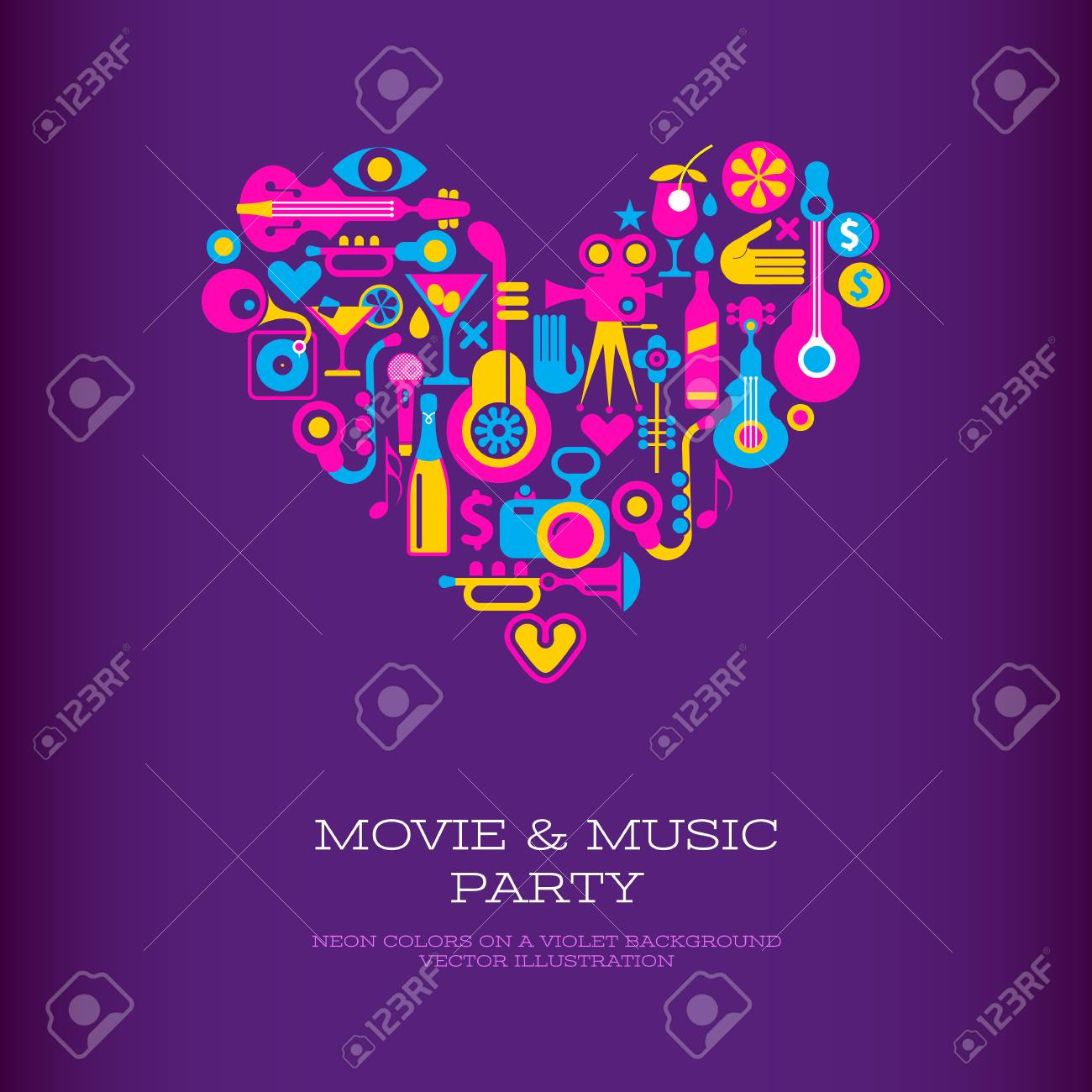 Vibrant colors on a dark violet background Movie & Music Party vector poster template. Heart shape design. - 100066495