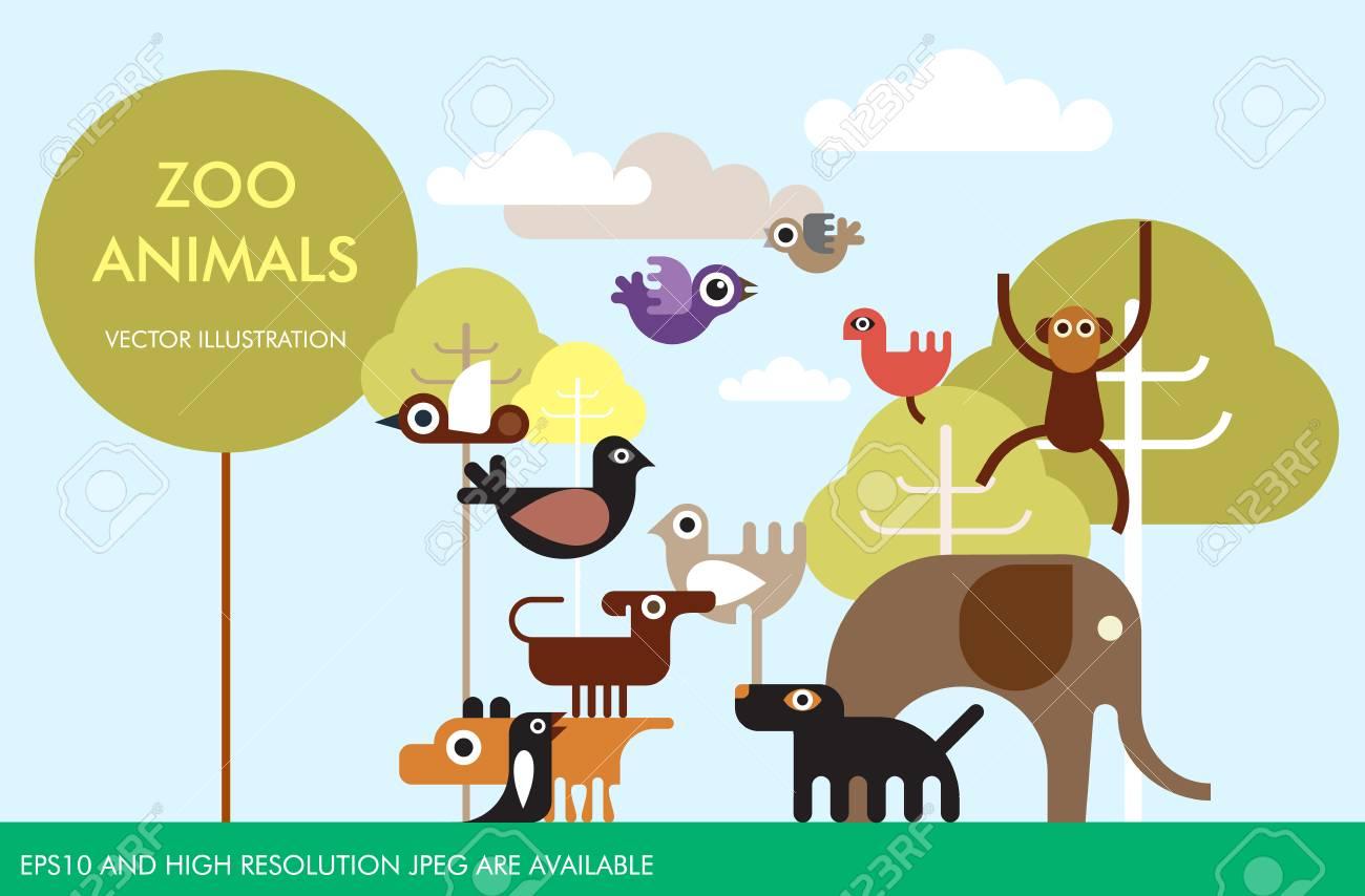 zoo animals and birds vector template design jungle wildlife