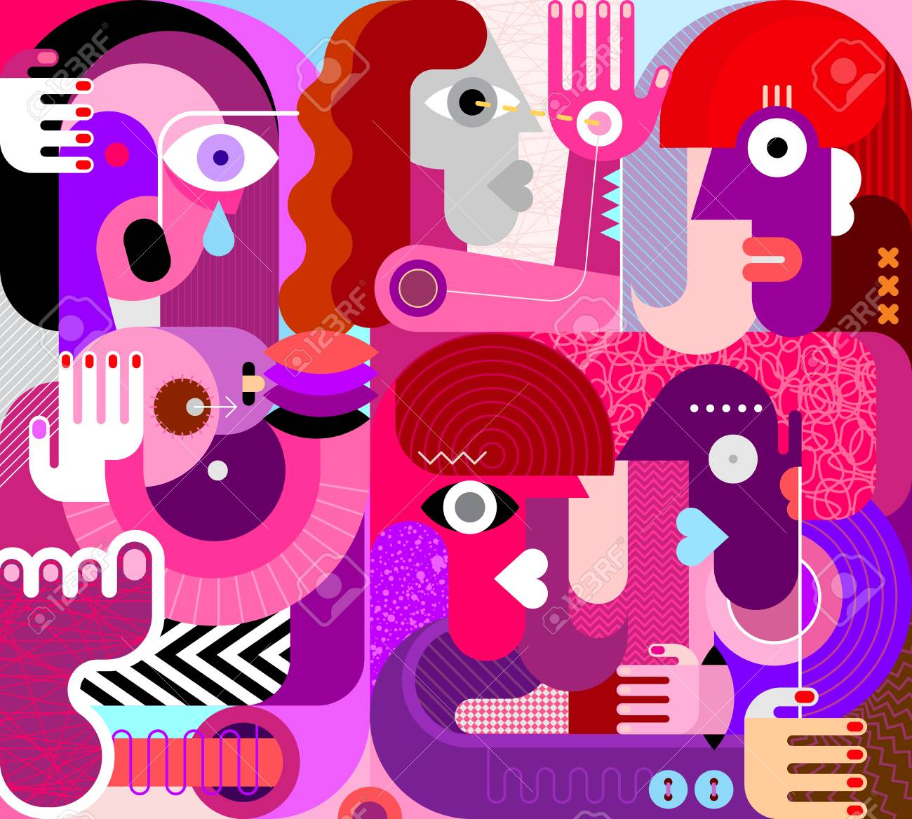 Large group of people vector illustration. Modern abstract fine art painting. Weeping woman with breasts. - 107711423