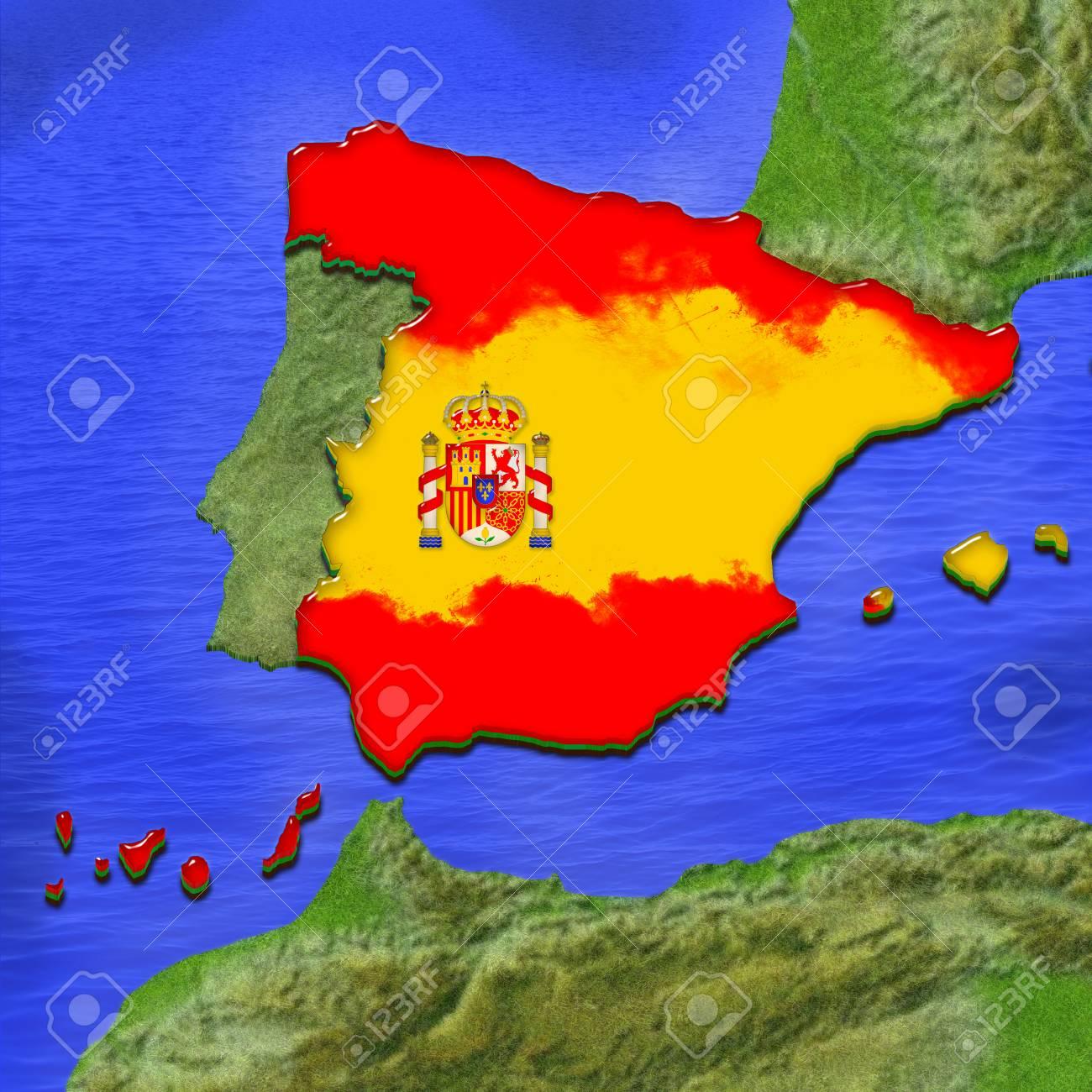 Spanish Map Of Spain.Stock Illustration