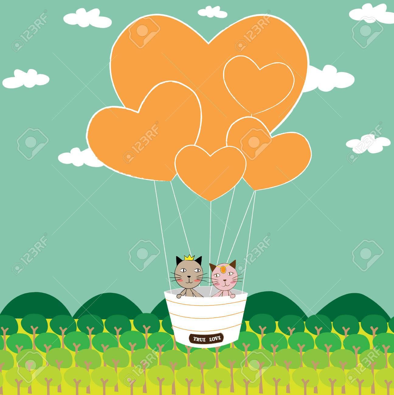 甘い猫のイラスト。心と空猫のカップルの形のバルーン。 ロイヤリティ