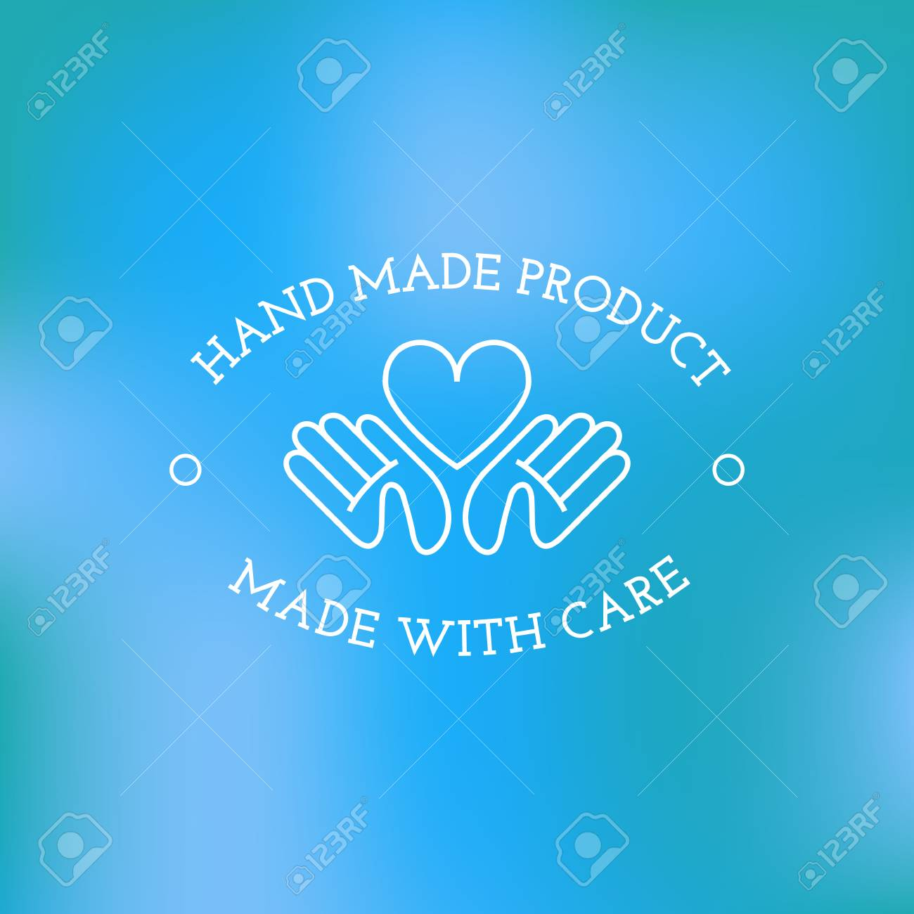 Label Design Template With Two Hands And Heart For Handmade Products In Outline Trendy Style