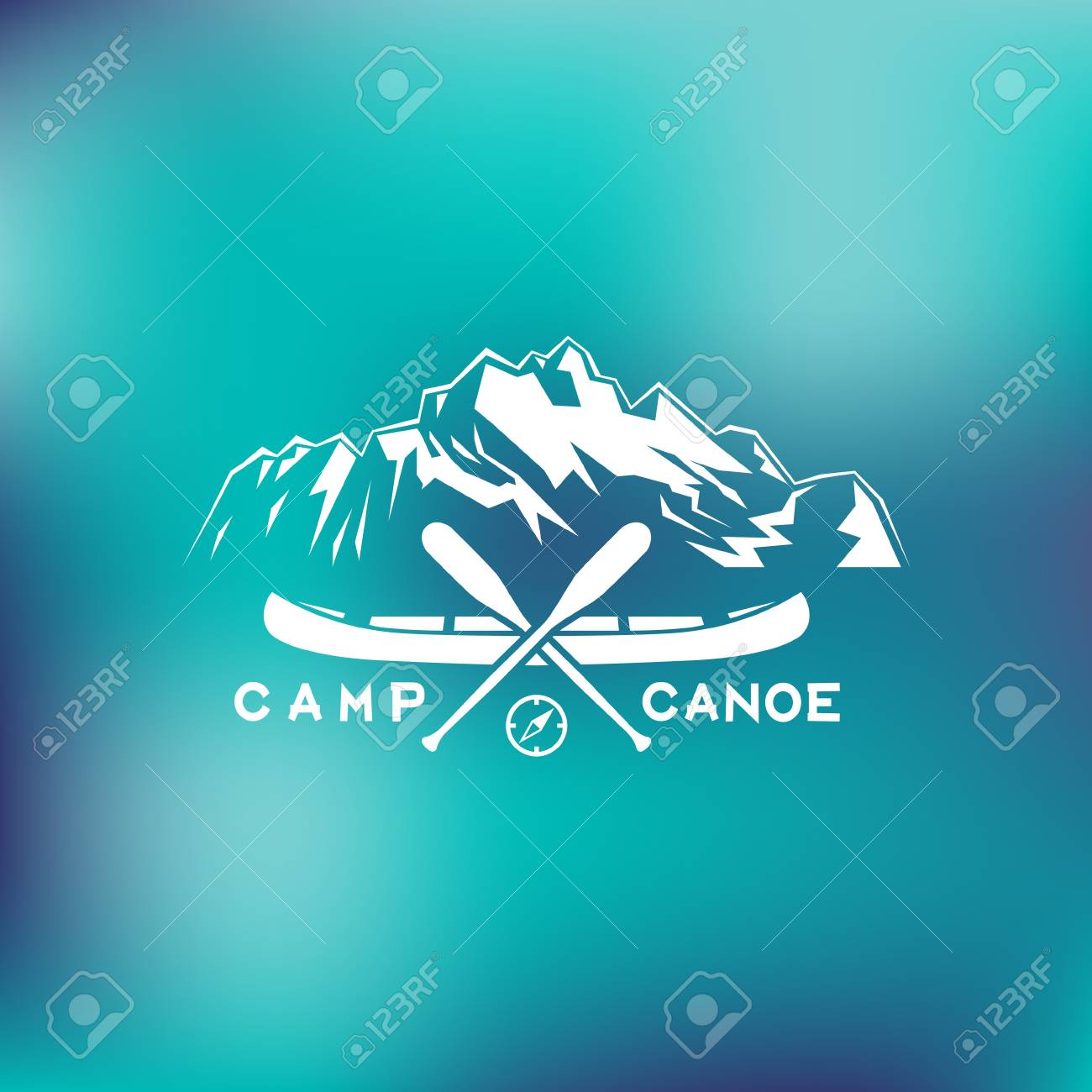 template for labels and emblems with two paddles canoe mountains