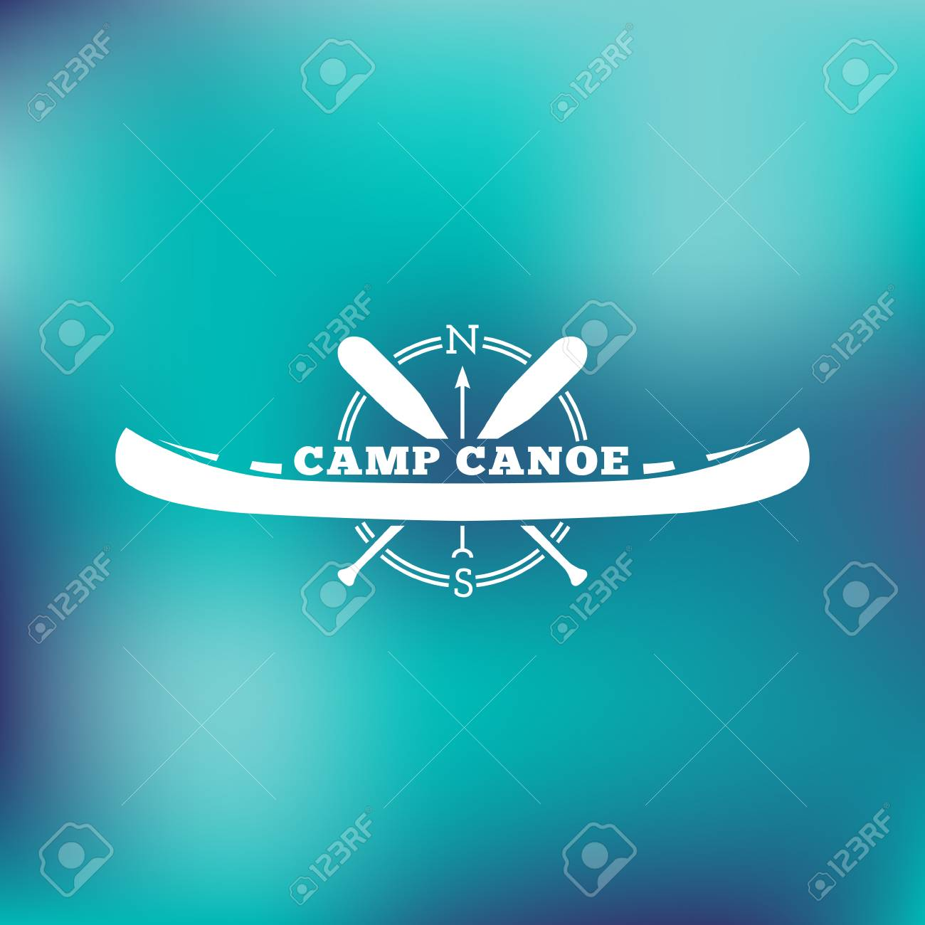 template for labels and emblems with two paddles canoe and compass