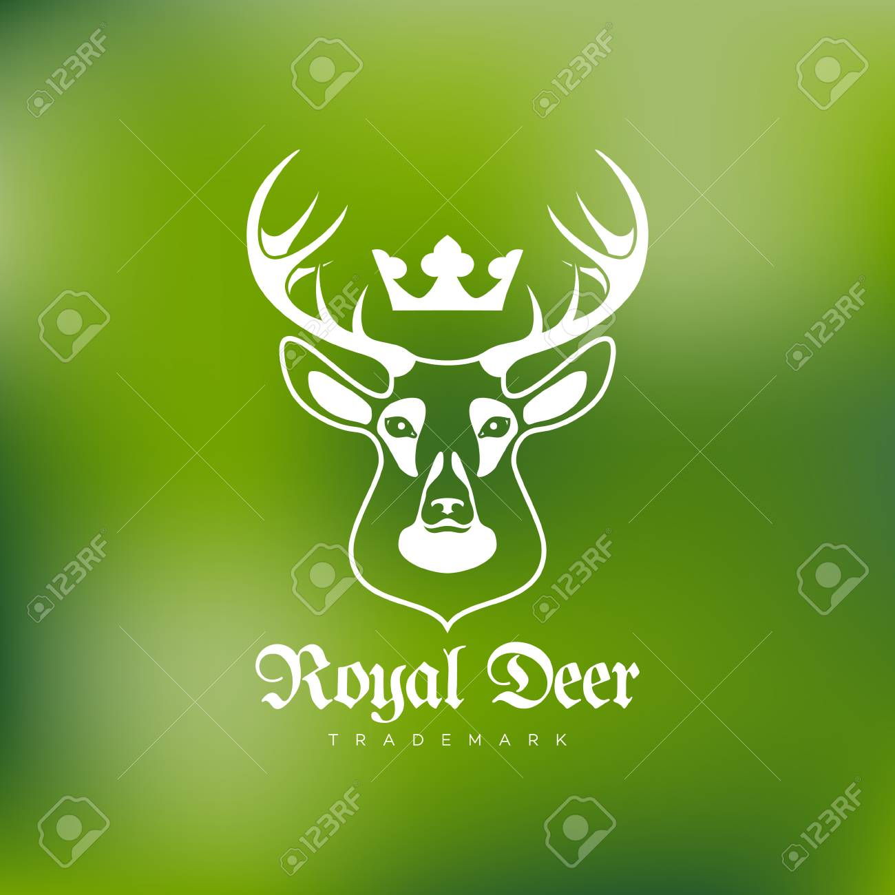 Template For Labels And Emblems With Deer Head Crown Vector Illustration Stock