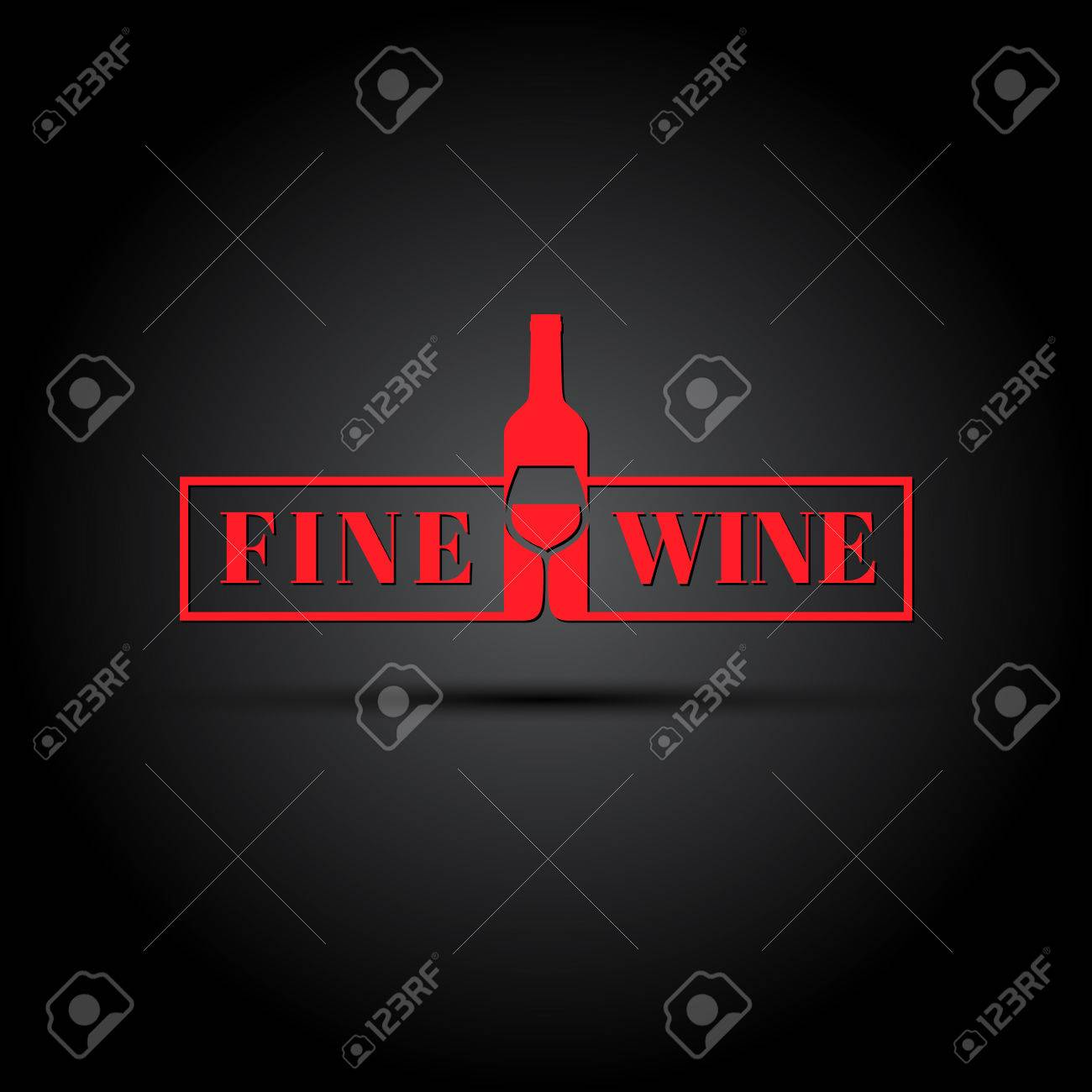 Bottle and wineglass with text template for logo label emblem template for logo label emblem icon biocorpaavc Gallery