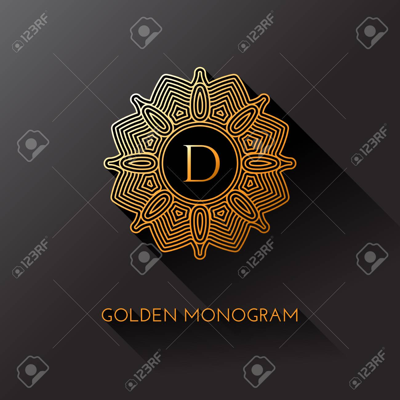 Golden Elegant Monogram With Letter D Template Design For Monogram