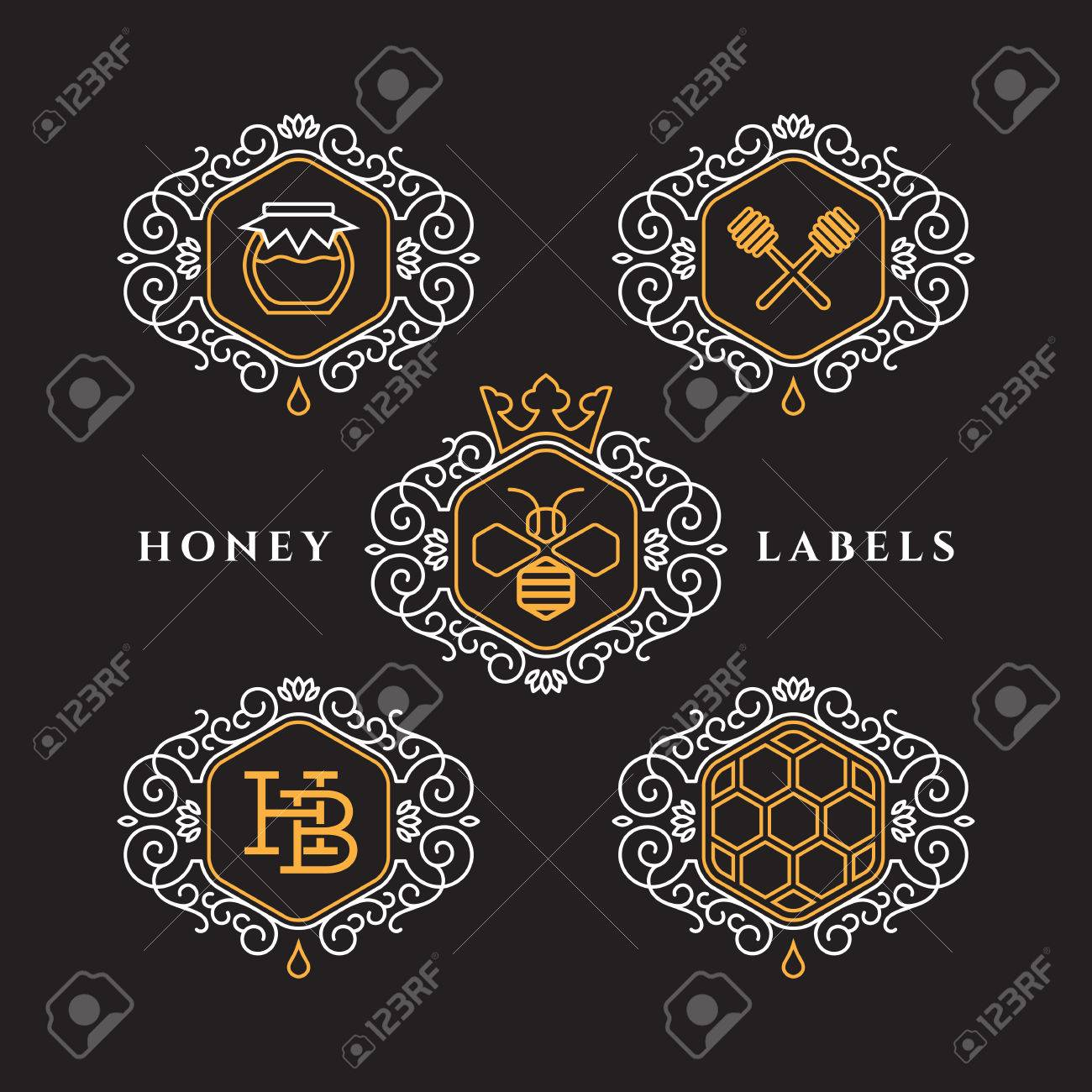Set Of Templates Design For Honey Bee Labels With Frame In Outline ...