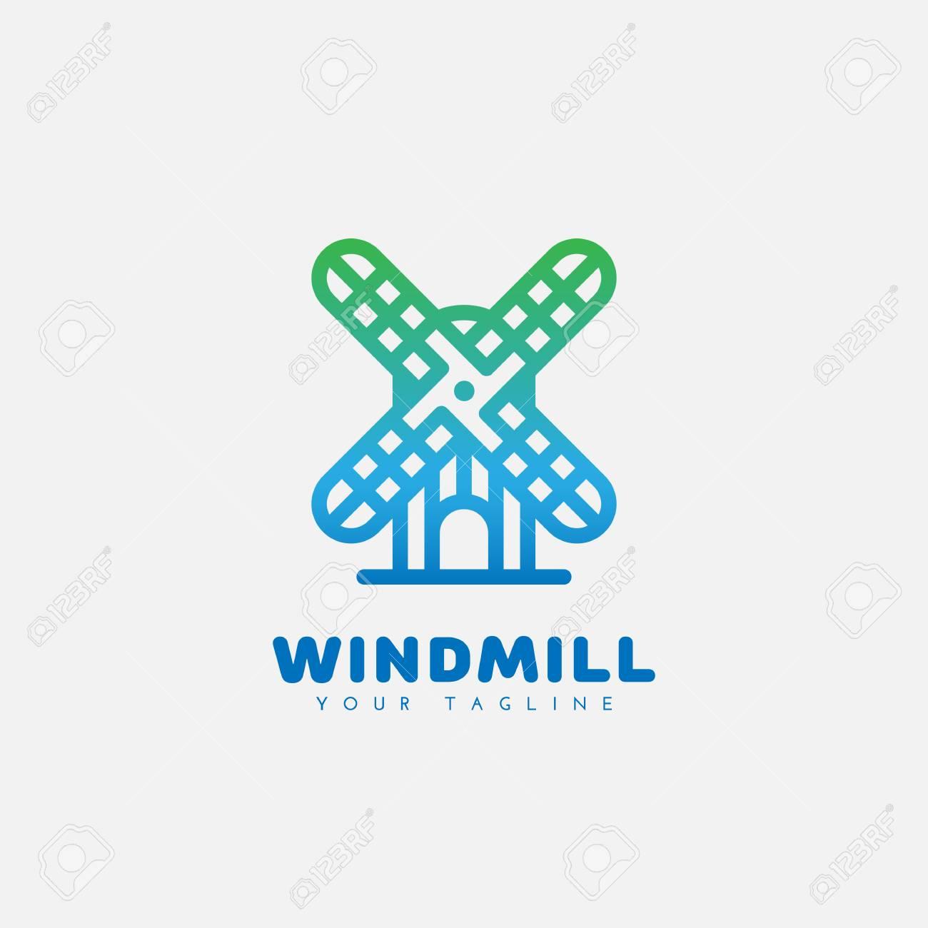 Diseño De Plantilla De Logotipo De Molino De Viento En El Estilo De ...
