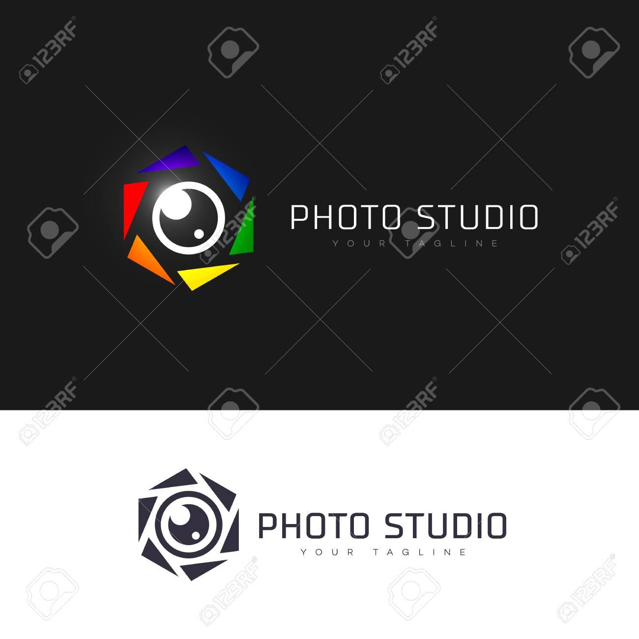 Diseño De Plantilla De Estudio De Imagen Hexagonal. Ilustraciones ...