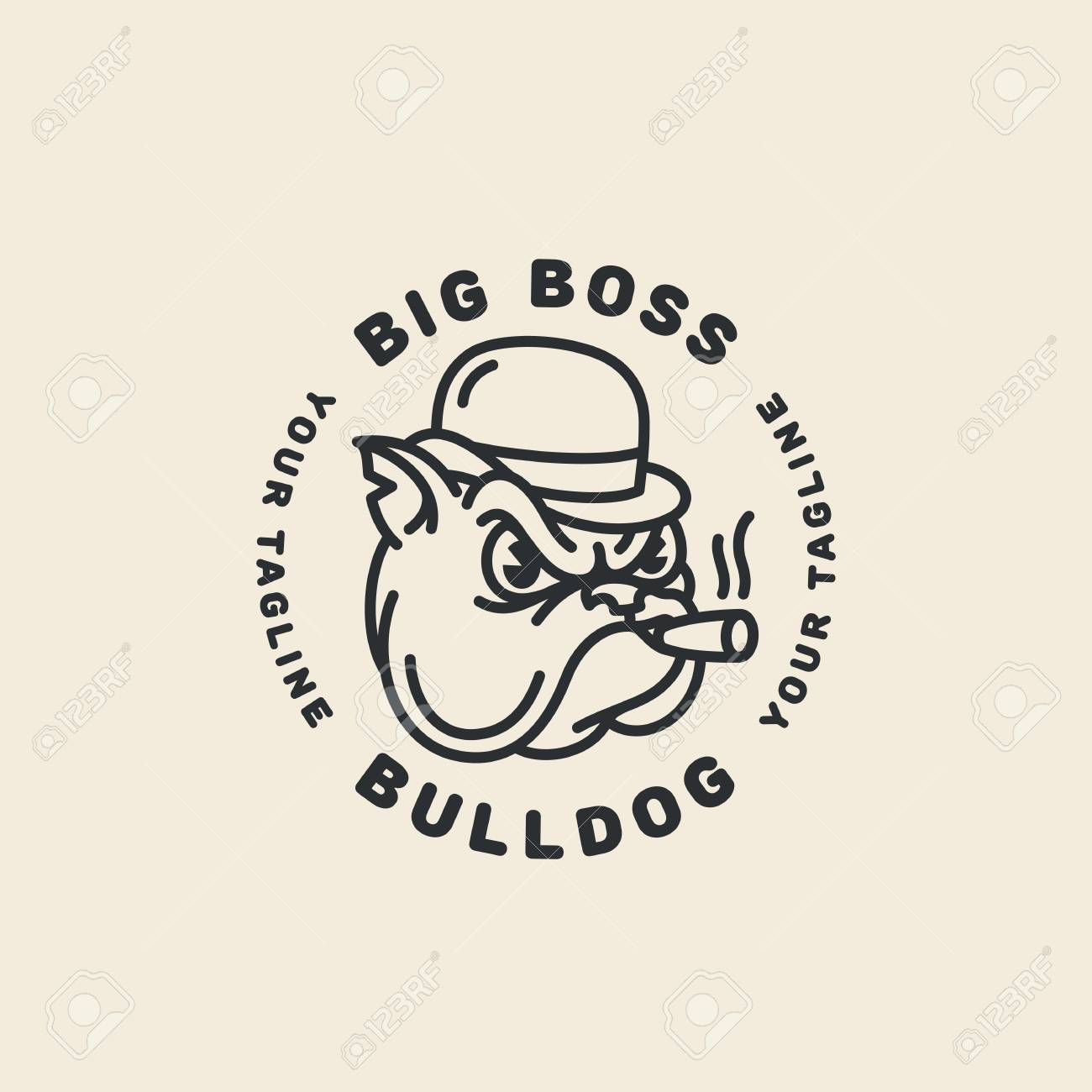 a circular template design in an outline style with a bulldog