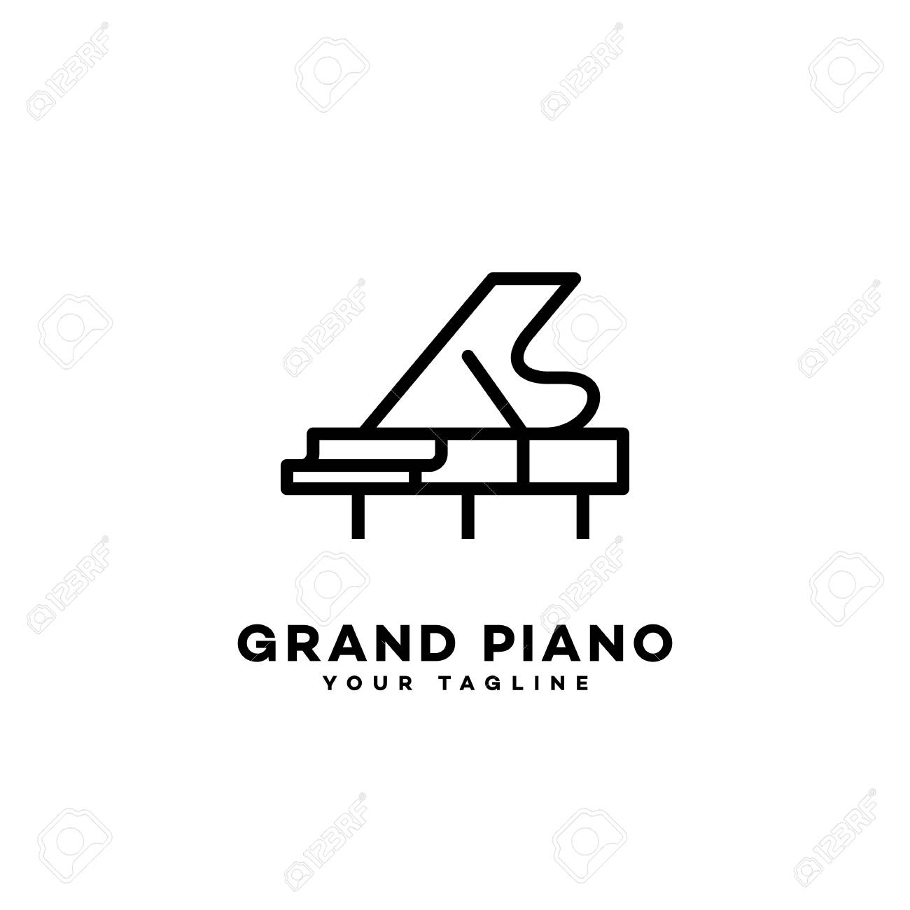 grand piano logo template design in outline style vector