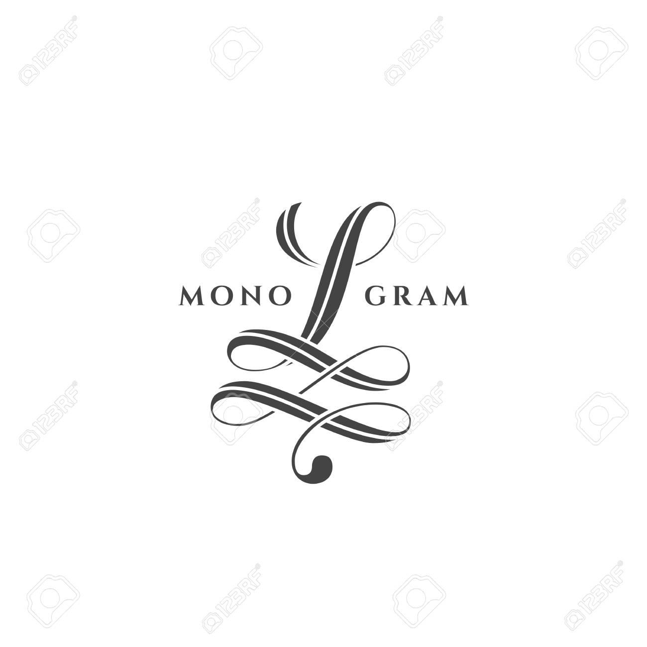 Monogram design template of letter L on a white background. Vector illustration. - 125472447