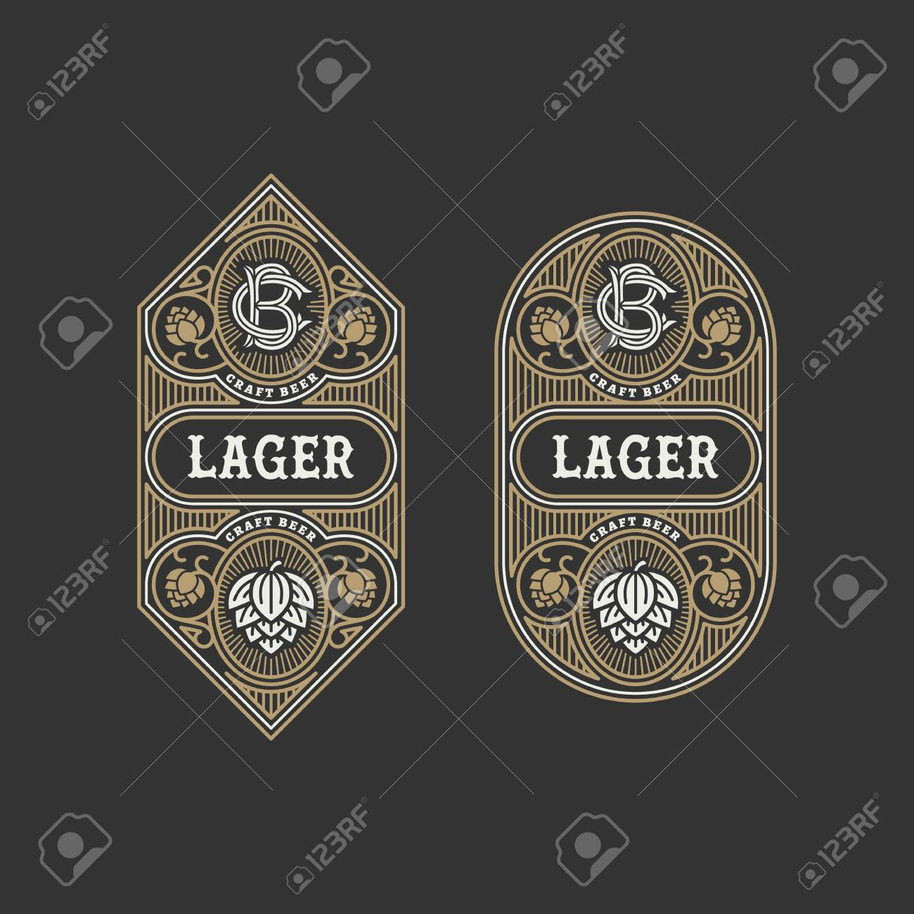 Two flourishes beer label design templates with hops. Vector illustration. - 136626317