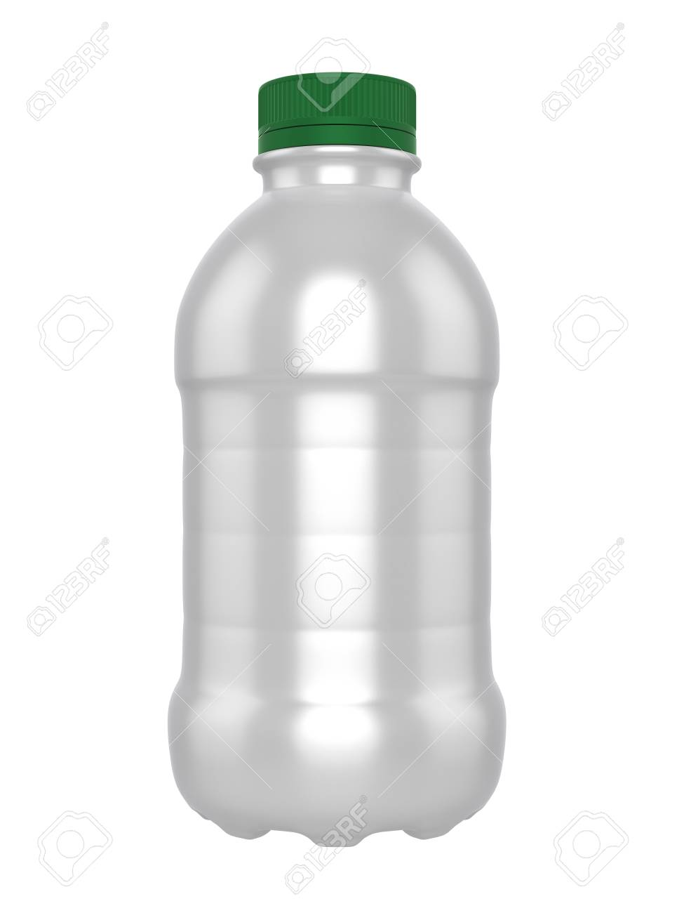 3d realistic render of template plastic bottle of milk green lid