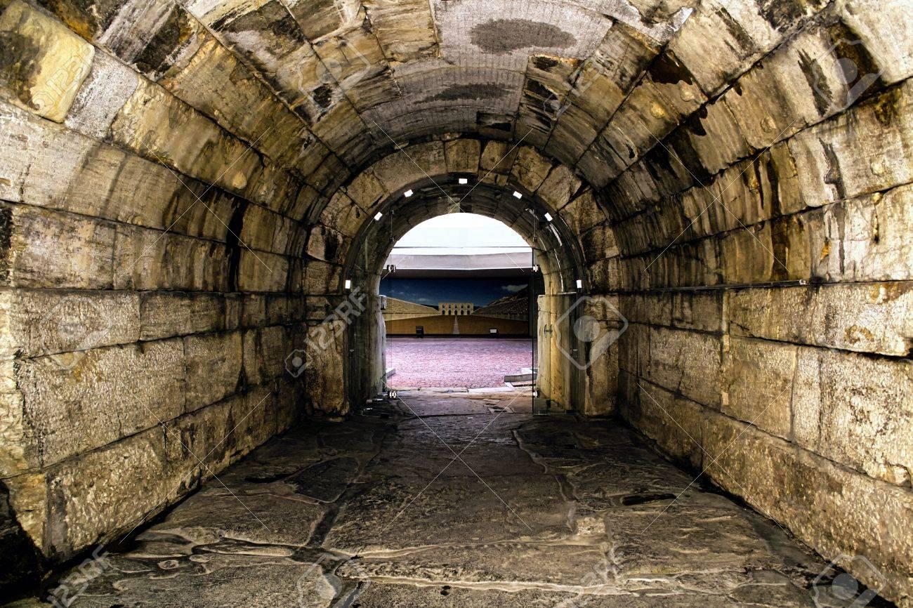 Old Roman Tunnel To Gladiator Arena Rectangular Stones Stock Photo